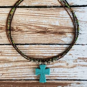Handmade Leather Necklace with Turquoise Cross